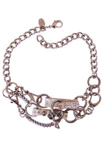 Image of Equestrian leather, Swarovski crystal and chain 2-tier choker
