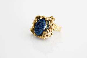 Image of Coral Druzy Ring