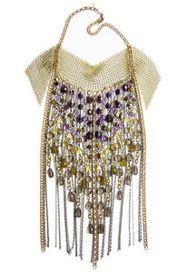 Image of Gala Grand gold-tone chainmaille, chain, amethyst, lemon, whiskey and smoky quartz fringed necklace