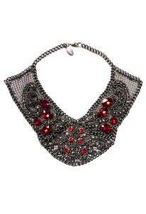 Image of Romanov red and silver-tone Swarovski crystal, glass and chainmaille collar + colors
