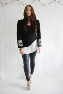 Image of Black embellished asymmetric jacket