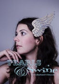 "Image of ""Icarus"" Iridescent Glittered Wing Fascinator Crystals Fascinator Angel Ascot Bridal Headwear"