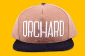 Image of Orchard Brand Tan/Black Flannel & Canvas Sherman Text Snapback