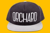 Image of Orchard Brand Black/Ash Flannel & Canvas Sherman Text Snapback