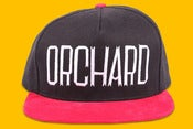 Image of Orchard Brand Black/Red Brushed Twill Sherman Text Snapback