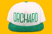 Image of Orchard Brand Natural/Kelly Brushed Twill Sherman Text Snapback