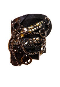 Image of Strapped Up leather, crystal and chain wrap cuff