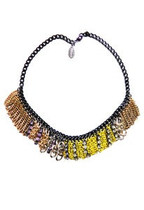 Image of Go-Go yellow and lilac crystal and chain necklace + colors