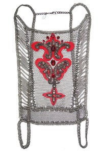 Image of Thriller chainmaille, leather and Swarovski crystal applique corset