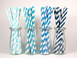 Image of Assorted Blue Striped Paper Straws