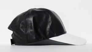 Image of 2 Tone Leather Cap - Black & White