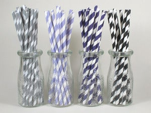 Image of Gray, Purple & Black Stripe Paper Straws