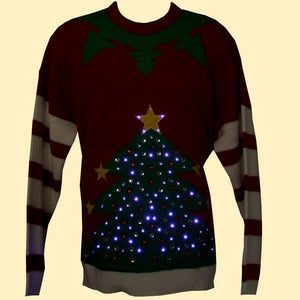 Image of Unisex Christmas Tree LED Lighted Knitted Christmas Jumper/Sweater- Red