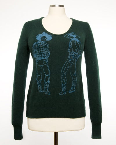 "Image of ""Straight Shooters"" Womens Cashmere Sweater - Forest Green"