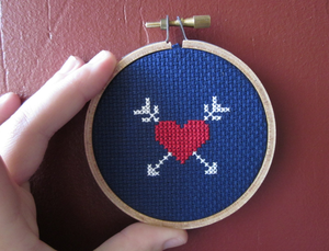 Image of Heart and Arrows DIY Cross-Stitch Kit by Chez-Sucre-Chez
