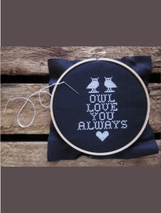 Image of do-it-yourself kit - owl love you always cross stitch by Chez-Sucre-Chez