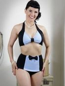 Image of Powder Blue Black Tie Bikini (TOP & BOTTOM SOLD SEPARATELY)