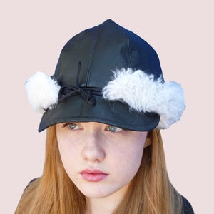 Image of Tsarina Leather Cap & Fur Earflaps in Black Sheepskin
