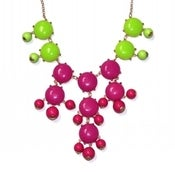 Image of Bubble Necklace: Hot pink and green