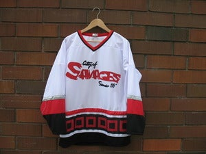 Image of City of Savages Hockey Jersey (White/Red/Black)