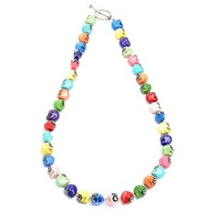 Image of Rainbow Greta Stoned Skull Necklace