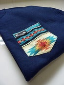 Image of Blue Aztec Pocket Crew Neck Unisex