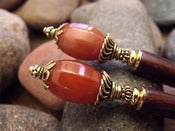 Image of Agate Alchemy Hairsticks | Natural Red Agate Gemstone Beads, Antiqued Vermeil Accents