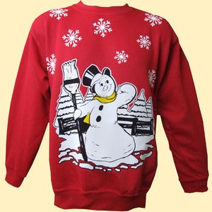 Image of Unisex Jack Frost Christmas Sweatshirt - Red