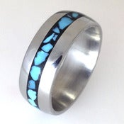 Image of Titanium Band with Mosaic Turquoise Inlay