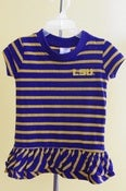 Image of LSU Tigers Crew Neck Girls Dress With Ruffles