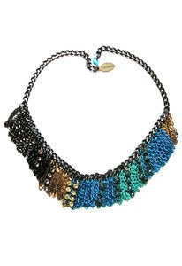 Image of Go-Go turquoise ombre mixed metal and crystal necklace + colors
