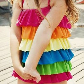 Image of Rainbow Ruffle Swimsuit