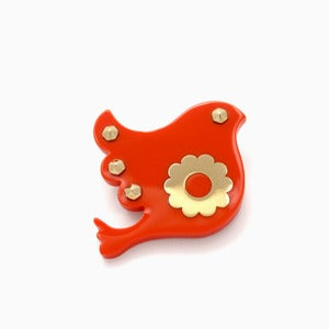 Image of Freedom Brooch | Coral + Golden | 40% OFF!