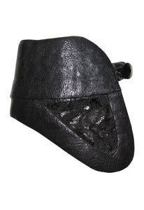 Image of Masquerade cut-out black leather and French lace cuff