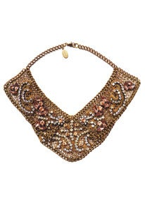 Image of Romanov peach and gold-tone chainmaille and crystal collar + colors