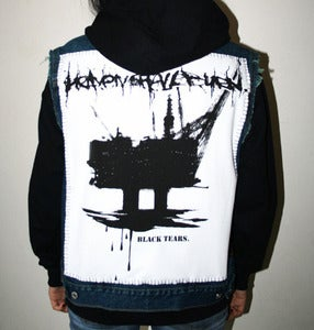 "Image of SICK X HEAVEN SHALL BURN Unisex 'BLACK TEARS' denim vest & hoody SMALL (38"")"