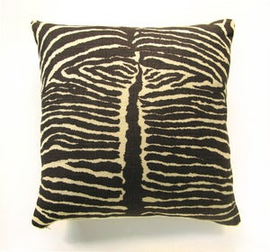 Image of Vintage Heavy Linen Zebra Fabric Pillow, 18&quot; x 18&quot;