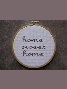 Image of schoolhouse script home-sweet-home Do-It-Yourself cross-stitch Kit