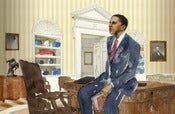 "Image of MIOKO MOCHIZUKI ""OBAMA IN THE OVAL OFFICE"" LTD EDITION PRINT 10""x16"""