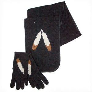 Image of Feather Glove and Scarf Set