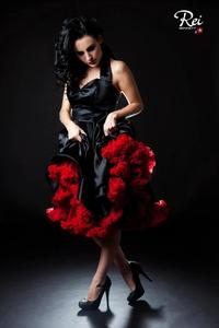 Image of Black Duchesse Satin Full Circle Skirt