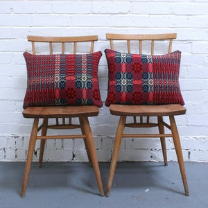 Image of Vintage Welsh Tapestry Cushion (Red)