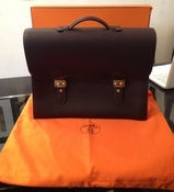 Image of Hermes Dark Brown Double Lock Briefcase UNUSED