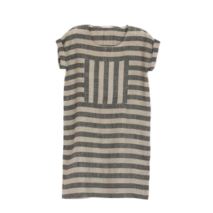 Enkidu Dress - Natural and Black Stripes