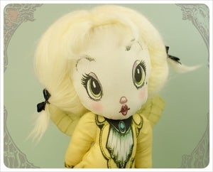 Image of  Lemon Chiffon - Mlle. Marie - Crinoline Fairy Rag Doll by the Filigree