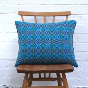 Image of Vintage Welsh Tapestry Cushion (Blue)