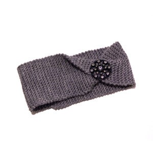 Image of Folded Grey Knitted Headband w/ Crystal Medallion