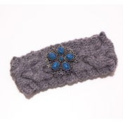 Image of Cableknit Grey Headband with Turquoise Flower