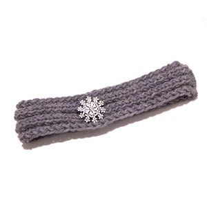 Image of Thin Grey Knit Headband with White Starburst