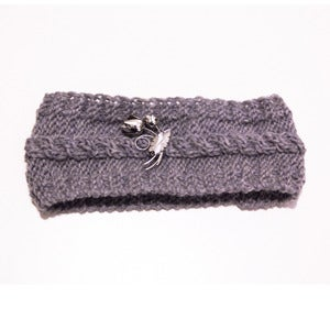 Image of Grey Cableknit Headband with Silver Rose